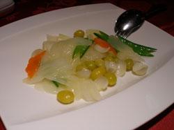 セロリと銀杏、百合根の炒め物